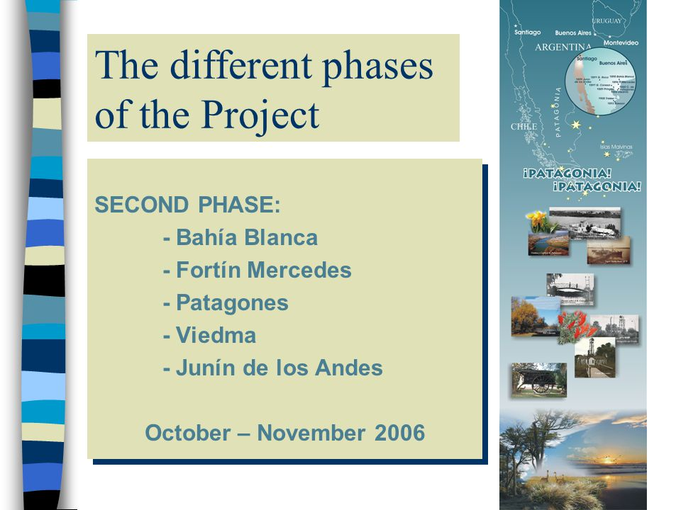 Tappe del Progetto SECOND PHASE: - Bahía Blanca - Fortín Mercedes - Patagones - Viedma - Junín de los Andes October – November 2006 SECOND PHASE: - Bahía Blanca - Fortín Mercedes - Patagones - Viedma - Junín de los Andes October – November 2006 The different phases of the Project
