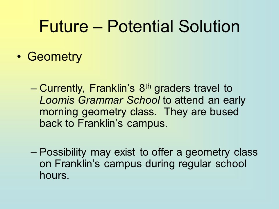 Future – Potential Solution Geometry –Currently, Franklin's 8 th graders travel to Loomis Grammar School to attend an early morning geometry class.