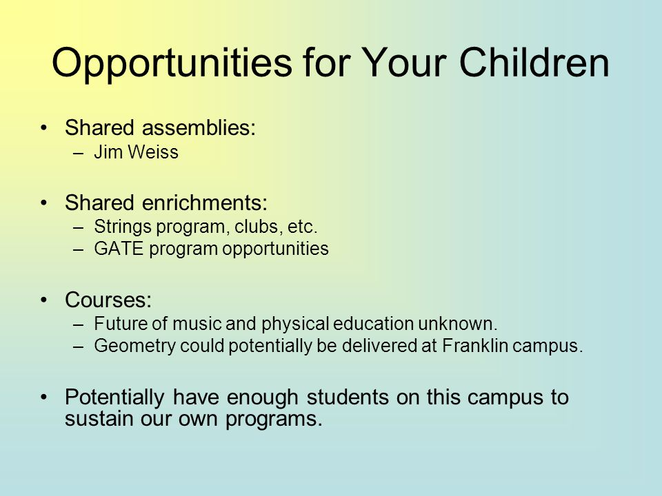 Opportunities for Your Children Shared assemblies: –Jim Weiss Shared enrichments: –Strings program, clubs, etc.