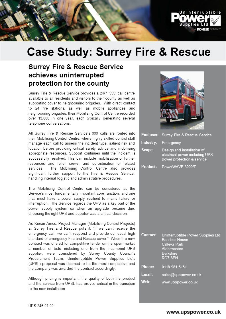 Surrey Fire & Rescue Service provides a 24/7 999 call centre available to all residents and visitors to their county as well as supporting cover to neighbouring brigades.