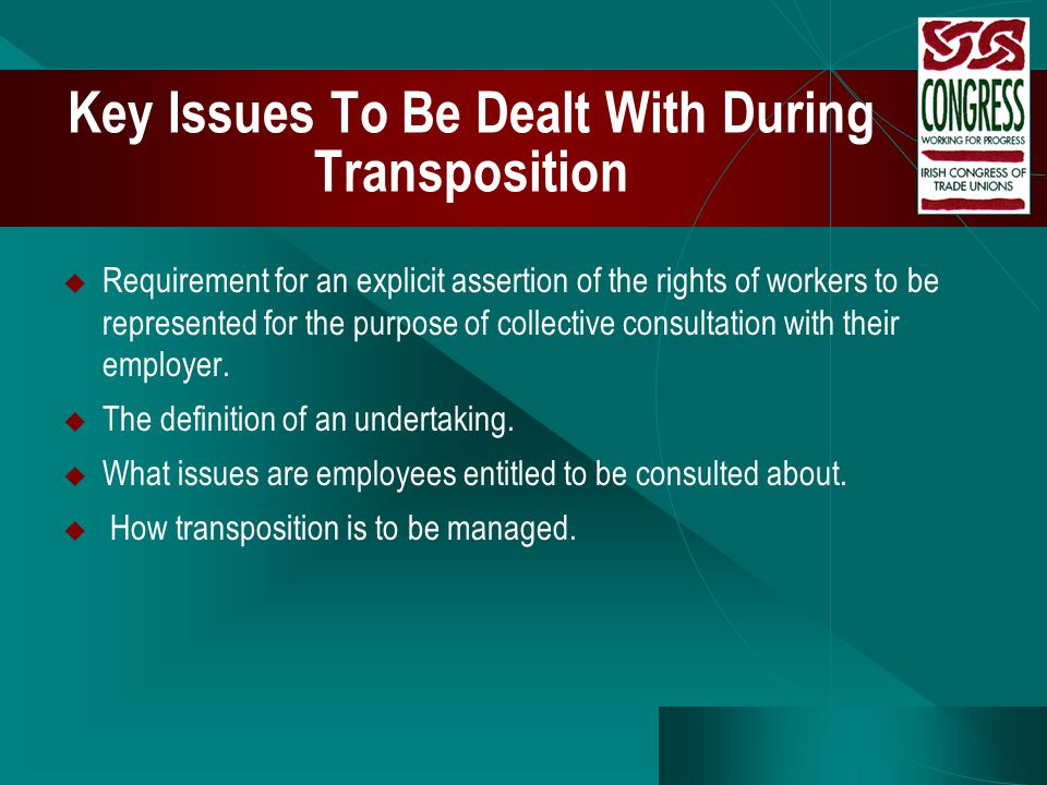 Key Issues To Be Dealt With During Transposition  Requirement for an explicit assertion of the rights of workers to be represented for the purpose of