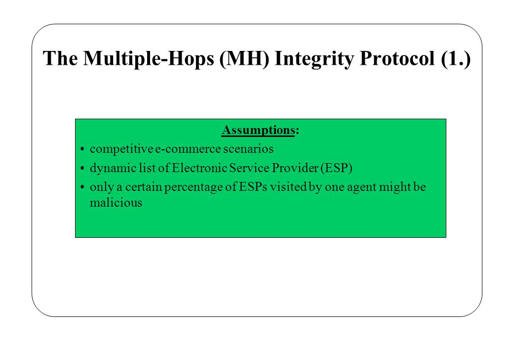 The MH Protocol (2.) Definitions: agent composed of three parts: –Code and Initialization Data –Application Data (AD).