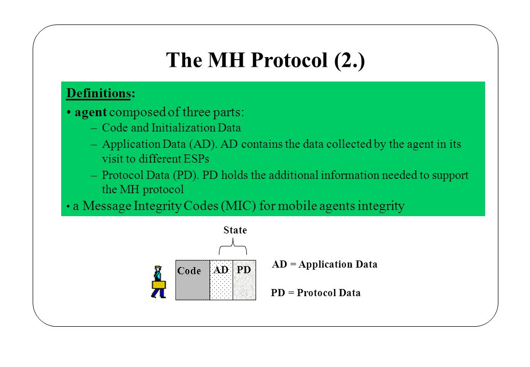 The MH Protocol (3.) Description: each site must provide a short proof of the agent computation: MIC i each proof is cryptographically linked with the ones computed at the previous sites => chaining relation between the proofs MIC i =h(..,.., MIC i-1 ) the integrity of the chain of cryptographic proofs is verified by the Sender at agent return back