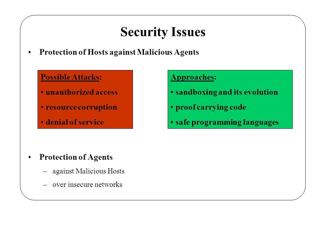 Challenging Issue: Protection of Agents against Malicious Hosts Possible Attacks: code/state spying code/state manipulation (tanpering and/or deletion) denial of execution …….