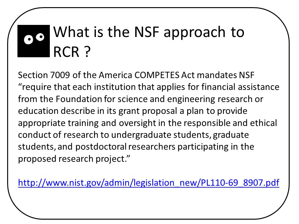 What is the NSF approach to RCR .
