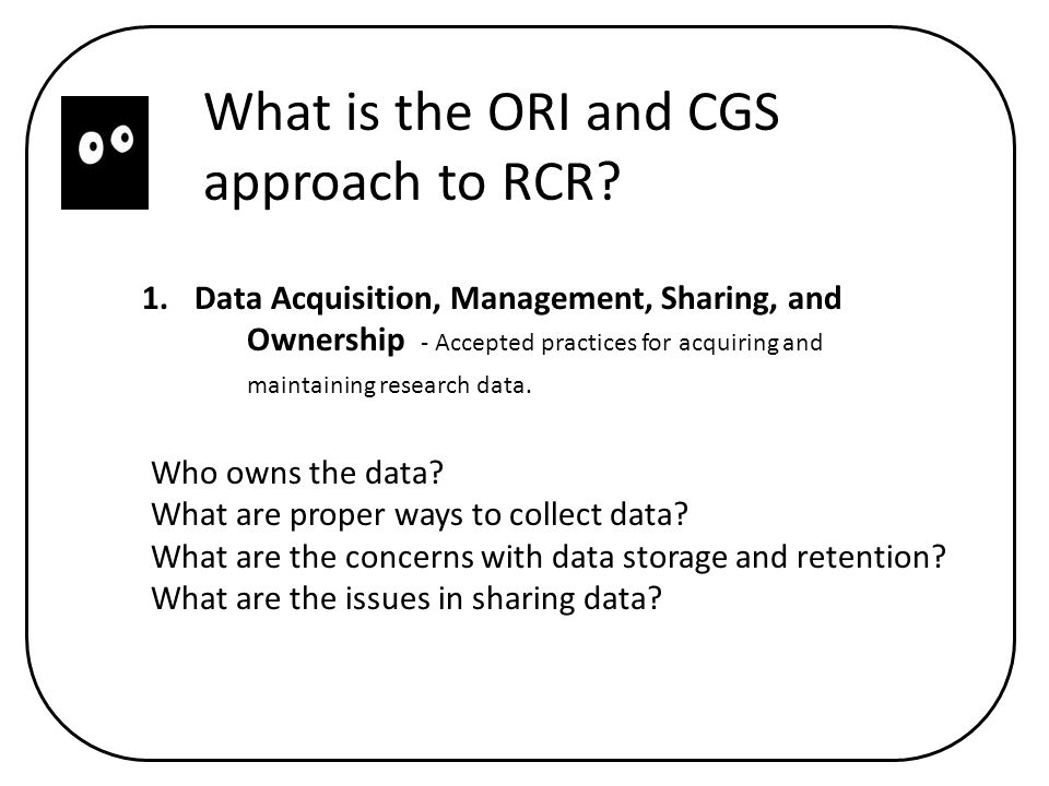 What is the ORI and CGS approach to RCR.
