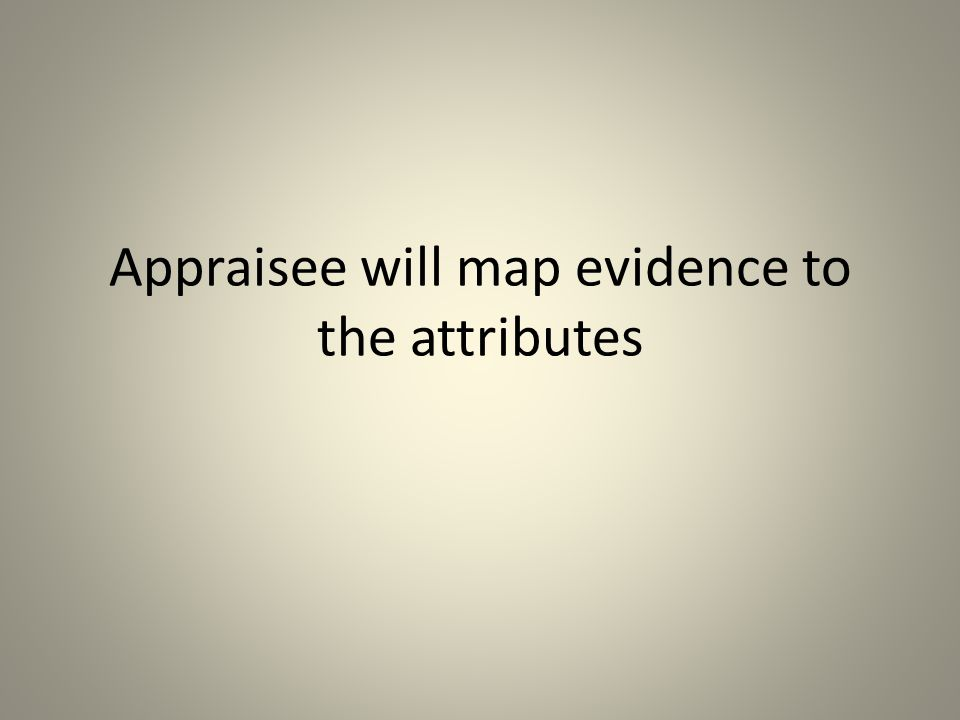 Appraisee will map evidence to the attributes
