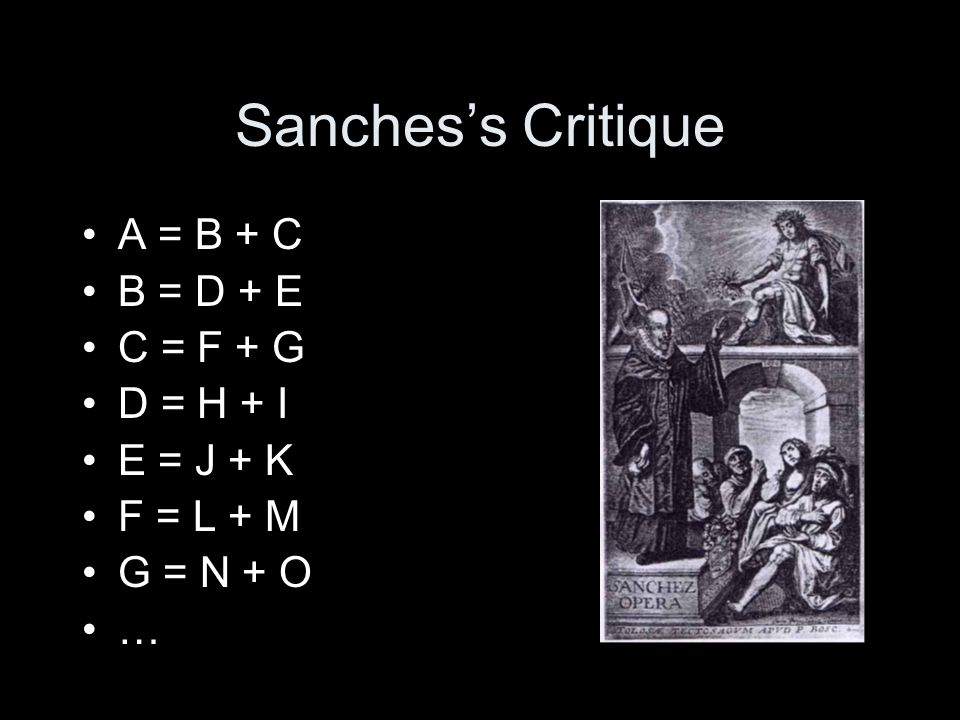 Sanches's Critique Thus, –Man = Rational Animal –Animal = Living Thing + Sensate –Rationality = .