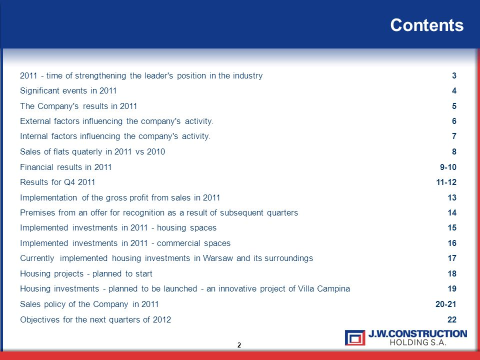 23 Investor Relations: Małgorzata Szwarc-Sroka Economy Division and Investor Relations Office HeadDirector of J.W.