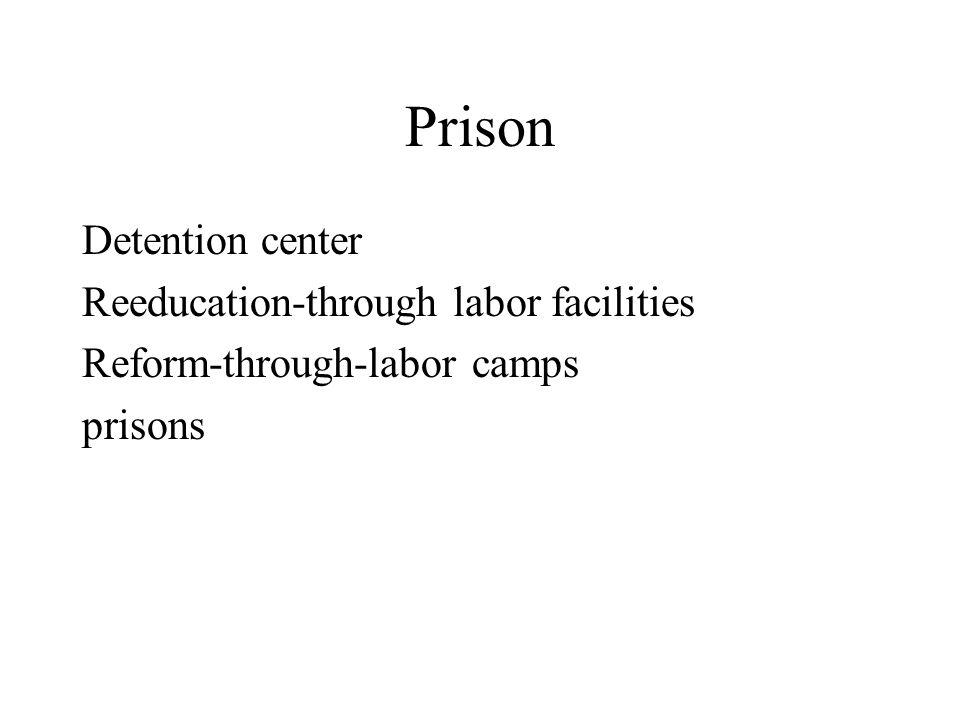 Prison Detention center Reeducation-through labor facilities Reform-through-labor camps prisons