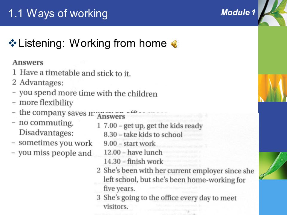 Module 1 1.1 Ways of working  Listening: Working from home