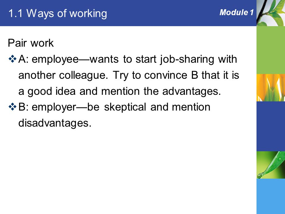 Module 1 1.1 Ways of working Pair work  A: employee—wants to start job-sharing with another colleague.