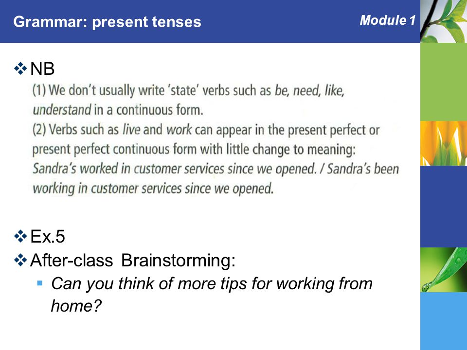 Module 1 Grammar: present tenses  NB  Ex.5  After-class Brainstorming:  Can you think of more tips for working from home