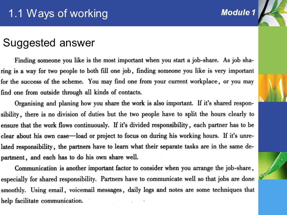 Module 1 1.1 Ways of working Suggested answer