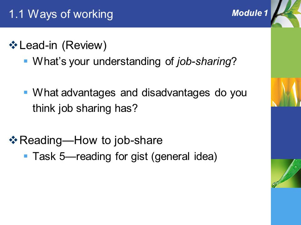 Module 1 1.1 Ways of working  Lead-in (Review)  What's your understanding of job-sharing.