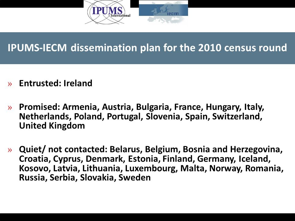 IPUMS-IECM dissemination plan for the 2010 census round » Entrusted: Ireland » Promised: Armenia, Austria, Bulgaria, France, Hungary, Italy, Netherlan