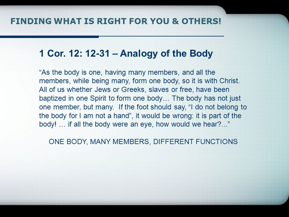 FINDING WHAT IS RIGHT FOR YOU & OTHERS. 1 Cor.