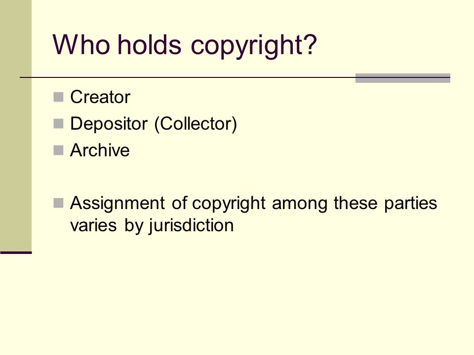 Purpose of copyright Protect the rights of creators in order to encourage creativity.