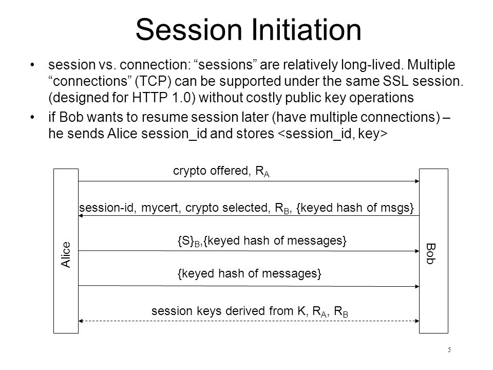 6 Session Resumption (Connection Establishment) Alice sends session-id, if Bob remembers, new connection (keys) can be established (session resumed) by just exchanging nonces is connection resumption stateless.