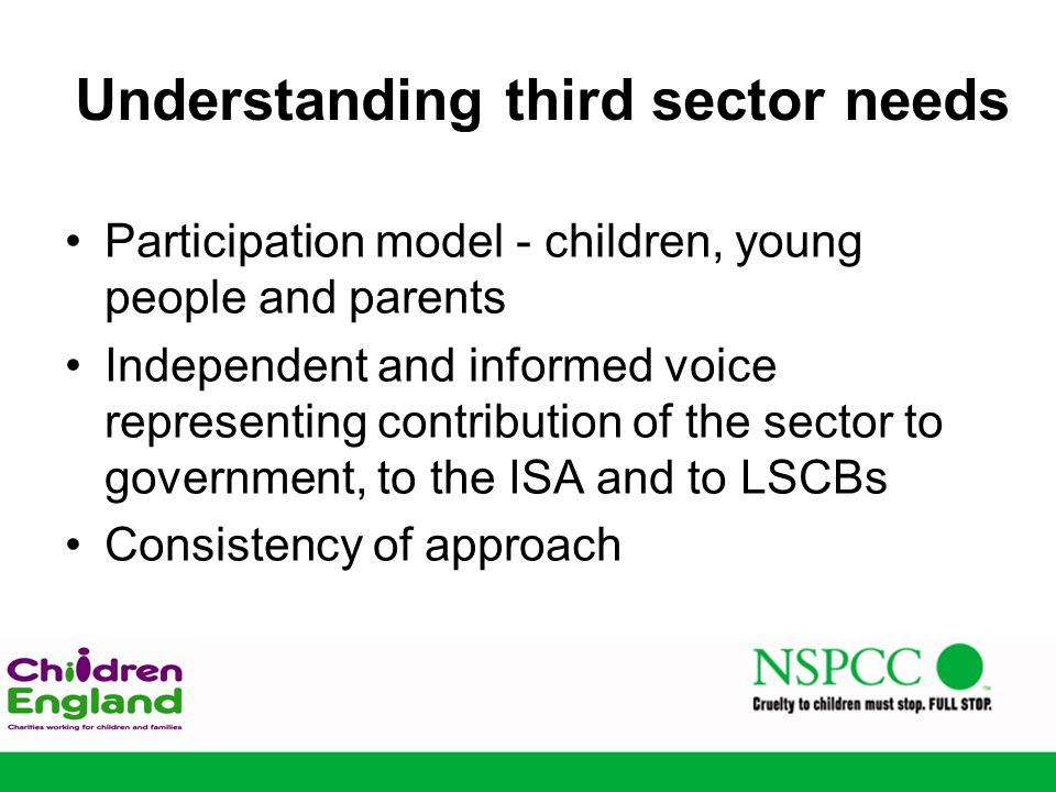 Understanding third sector needs Participation model - children, young people and parents Independent and informed voice representing contribution of the sector to government, to the ISA and to LSCBs Consistency of approach
