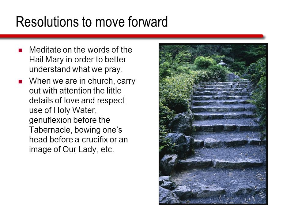 Resolutions to move forward Meditate on the words of the Hail Mary in order to better understand what we pray.