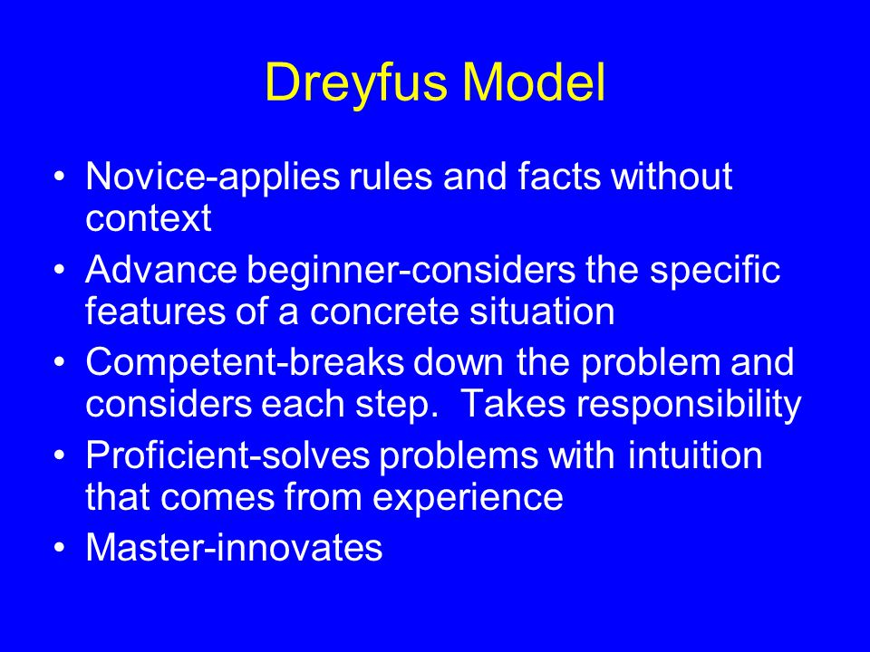 Dreyfus Model Novice-applies rules and facts without context Advance beginner-considers the specific features of a concrete situation Competent-breaks