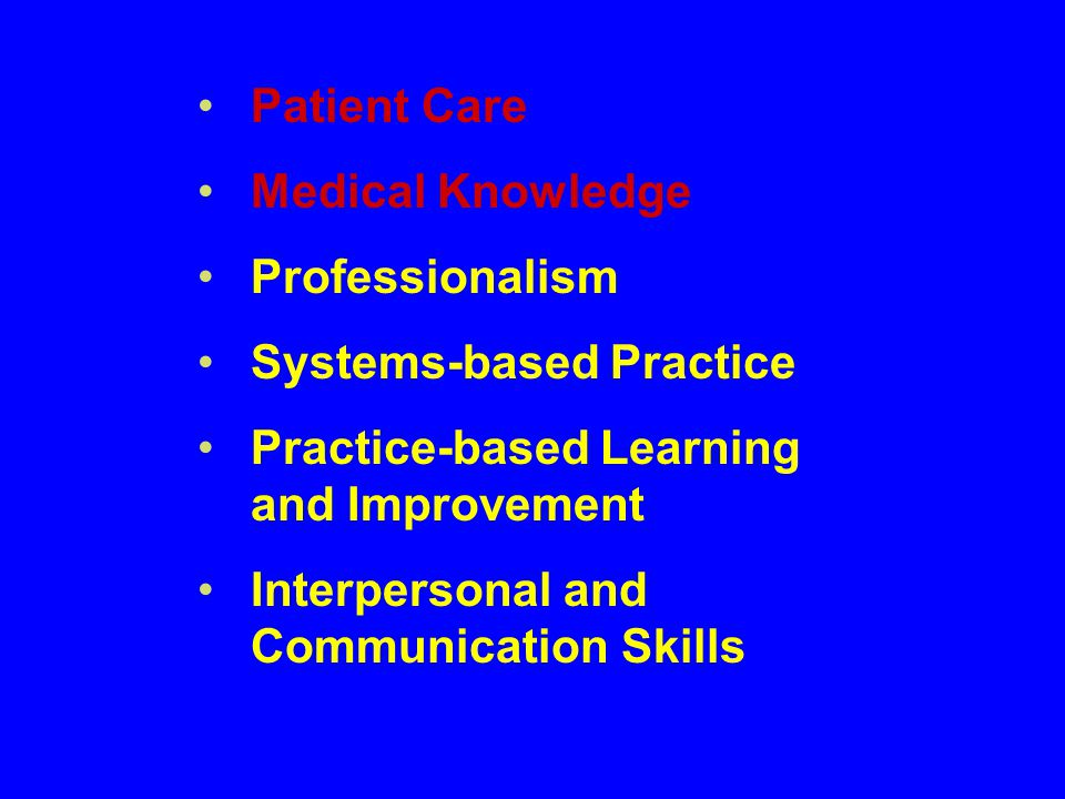 Patient Care Medical Knowledge Professionalism Systems-based Practice Practice-based Learning and Improvement Interpersonal and Communication Skills
