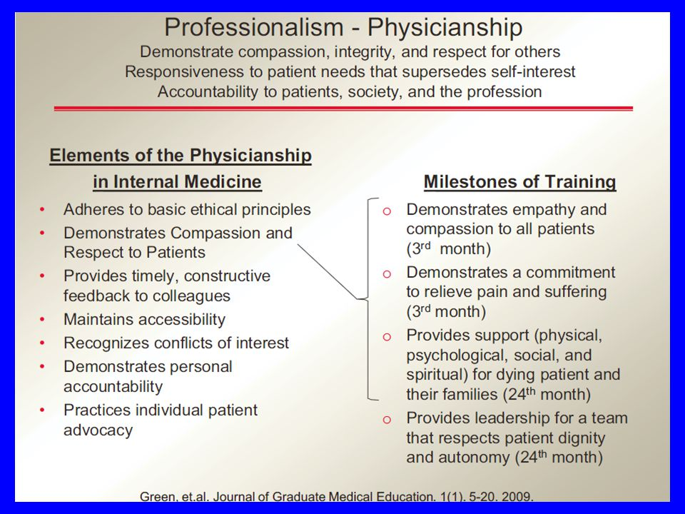 Entrustable Professional Activities-EPAs Professional life activities that define the specialty 50-100 per specialty Each activity can be broken down into elements Ground the competencies in the everyday work of the physician Competency in an element can be measured by some output or outcome that can be observed Complexity of the activities requires an integration of knowledge, skills, and attitudes across competency domains Ten Cate O, Scheele F.