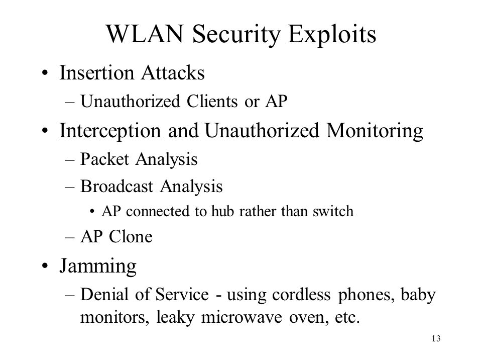 13 WLAN Security Exploits Insertion Attacks –Unauthorized Clients or AP Interception and Unauthorized Monitoring –Packet Analysis –Broadcast Analysis