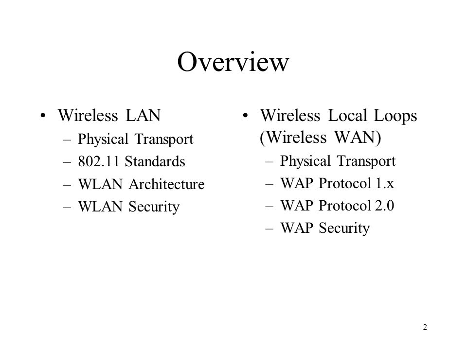 3 Wireless Local Area Networks