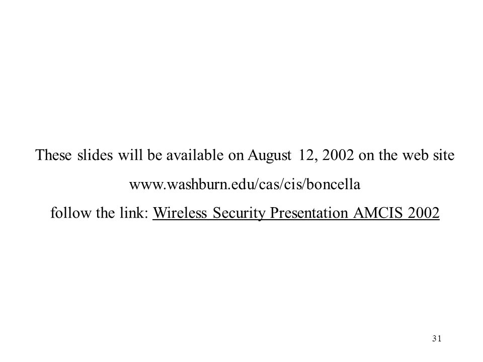 31 These slides will be available on August 12, 2002 on the web site www.washburn.edu/cas/cis/boncella follow the link: Wireless Security Presentation