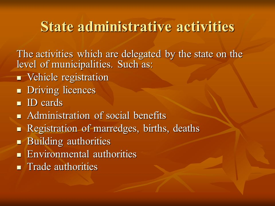 State administrative activities The activities which are delegated by the state on the level of municipalities.