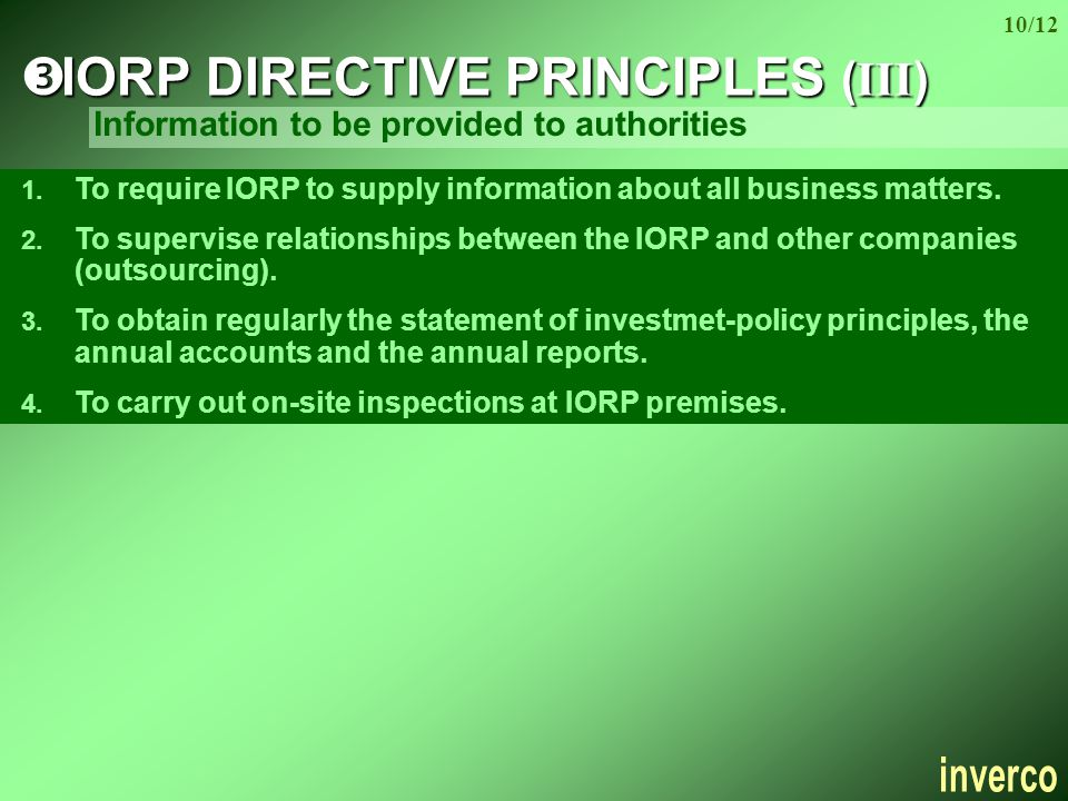 10/12  IORP DIRECTIVE PRINCIPLES (III) 1.