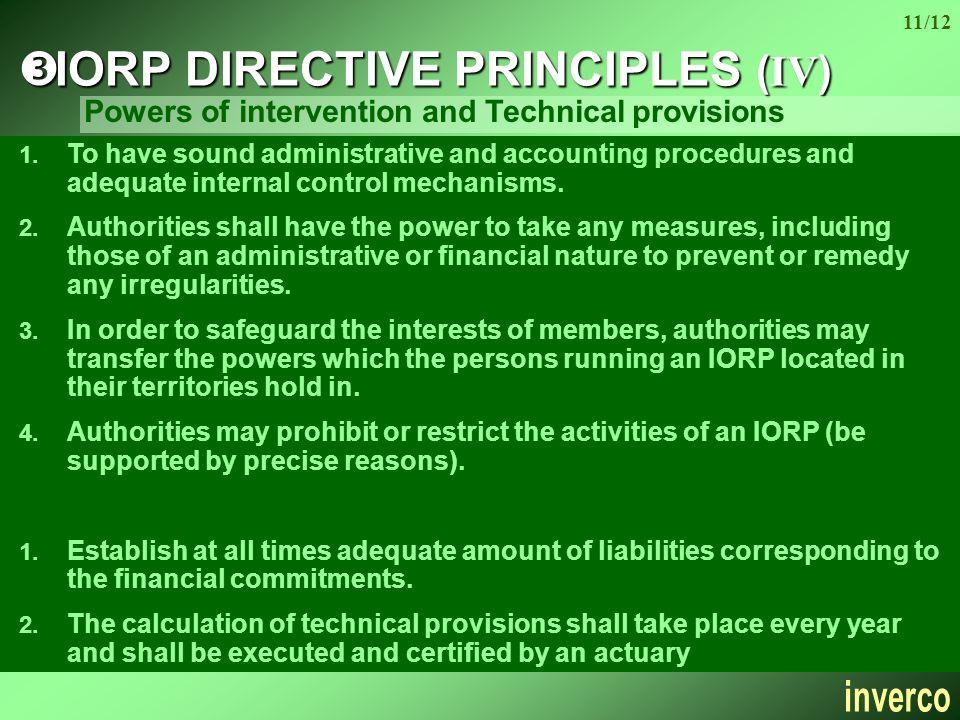 11/12  IORP DIRECTIVE PRINCIPLES (IV) 1.