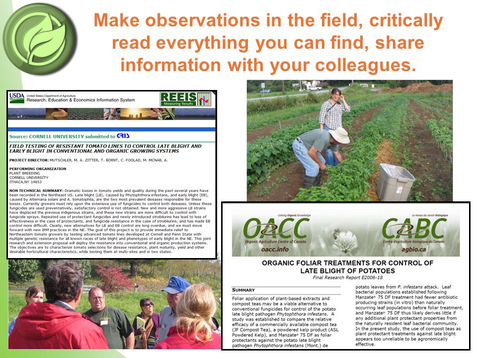 Make observations in the field, critically read everything you can find, share information with your colleagues.