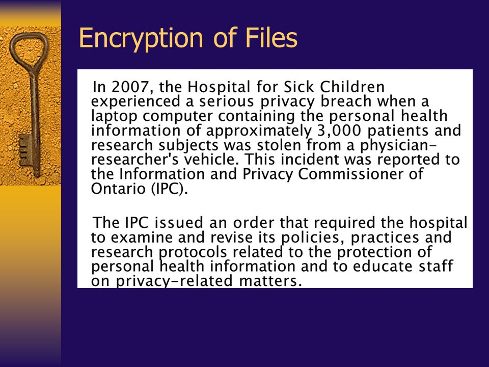 Encryption of Files