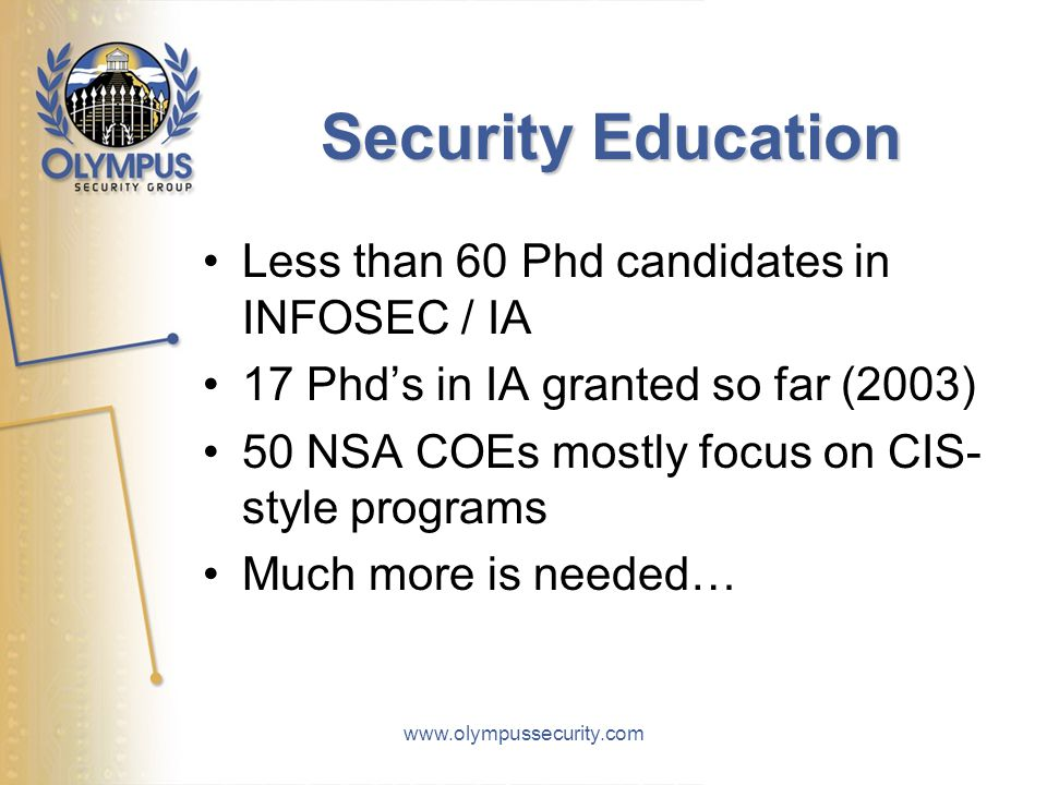 www.olympussecurity.com Security Education Less than 60 Phd candidates in INFOSEC / IA 17 Phd's in IA granted so far (2003) 50 NSA COEs mostly focus o