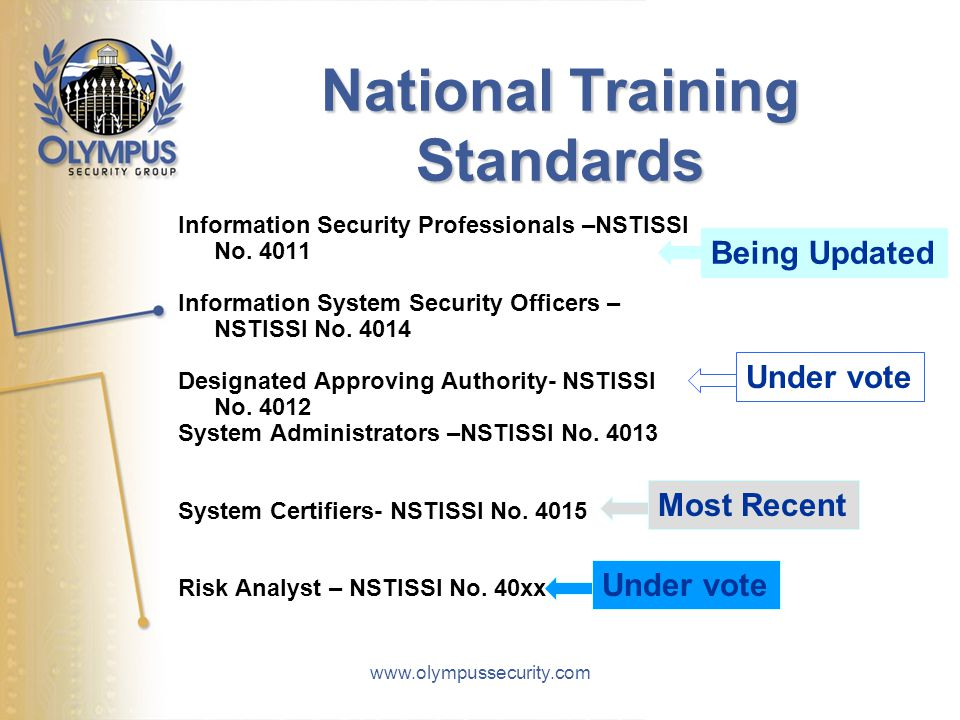 www.olympussecurity.com National Training Standards Information Security Professionals –NSTISSI No. 4011 Information System Security Officers – NSTISS