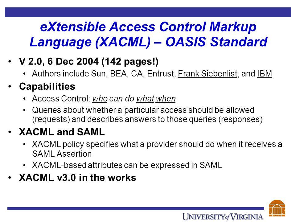 eXtensible Access Control Markup Language (XACML) – OASIS Standard V 2.0, 6 Dec 2004 (142 pages!) Authors include Sun, BEA, CA, Entrust, Frank Siebenl
