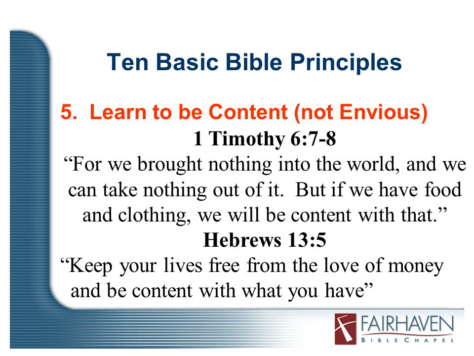 Ten Basic Bible Principles 5.