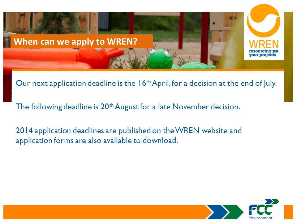 Contact WREN on: Tel: 01953 717165 Web: www.wren.org.ukwww.wren.org.uk Or Sarah Gosling on: Tel: 01953 714987 E-mail: sarah.gosling@wren.org.uk Follow @WREN_news CONTACT DETAILS