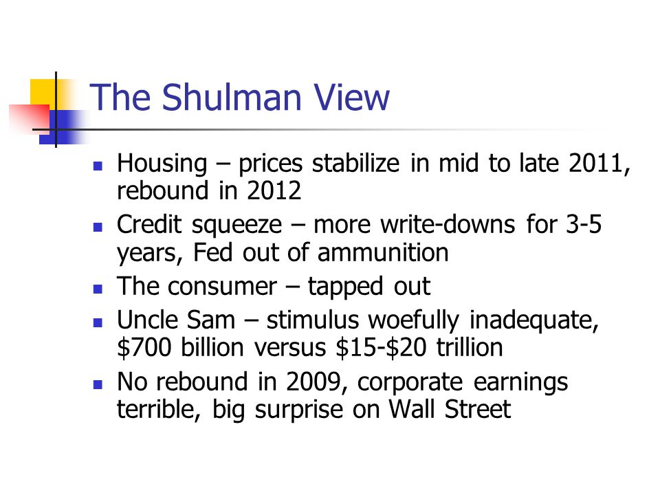 The Shulman View Housing – prices stabilize in mid to late 2011, rebound in 2012 Credit squeeze – more write-downs for 3-5 years, Fed out of ammunition The consumer – tapped out Uncle Sam – stimulus woefully inadequate, $700 billion versus $15-$20 trillion No rebound in 2009, corporate earnings terrible, big surprise on Wall Street