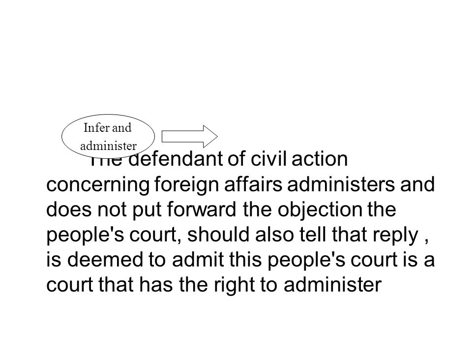 The defendant of civil action concerning foreign affairs administers and does not put forward the objection the people s court, should also tell that reply, is deemed to admit this people s court is a court that has the right to administer Infer and administer