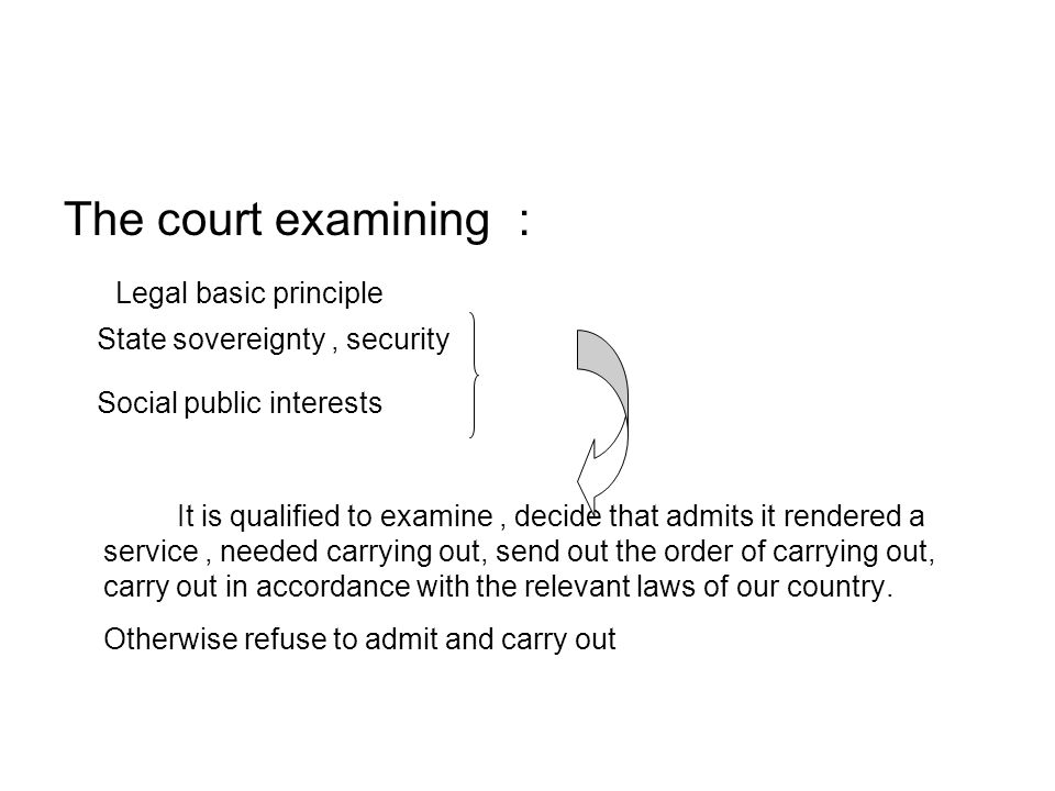 The court examining : Legal basic principle State sovereignty, security Social public interests It is qualified to examine, decide that admits it rendered a service, needed carrying out, send out the order of carrying out, carry out in accordance with the relevant laws of our country.