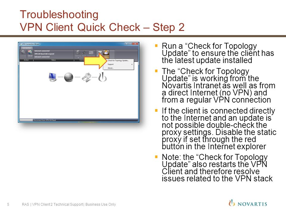 Troubleshooting VPN Client Quick Check – Step 2  Run a Check for Topology Update to ensure the client has the latest update installed  The Check for Topology Update is working from the Novartis Intranet as well as from a direct Internet (no VPN) and from a regular VPN connection  If the client is connected directly to the Internet and an update is not possible double-check the proxy settings.