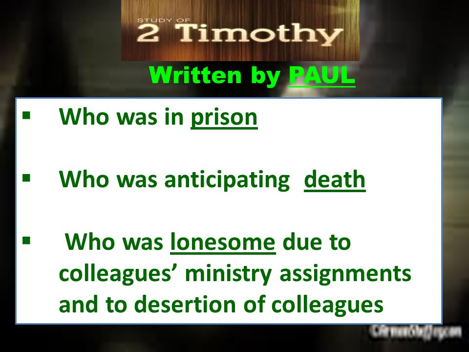  Who was young & naturally timid  Who was dealing with false teaching  Who had a stomach ailment  Who let people took advantage of him finding it difficult to assert his authority First Letter of PAUL to TIMOTHY