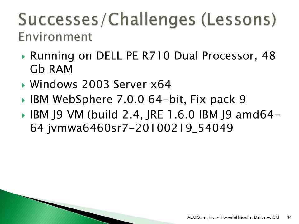  Running on DELL PE R710 Dual Processor, 48 Gb RAM  Windows 2003 Server x64  IBM WebSphere 7.0.0 64-bit, Fix pack 9  IBM J9 VM (build 2.4, JRE 1.6