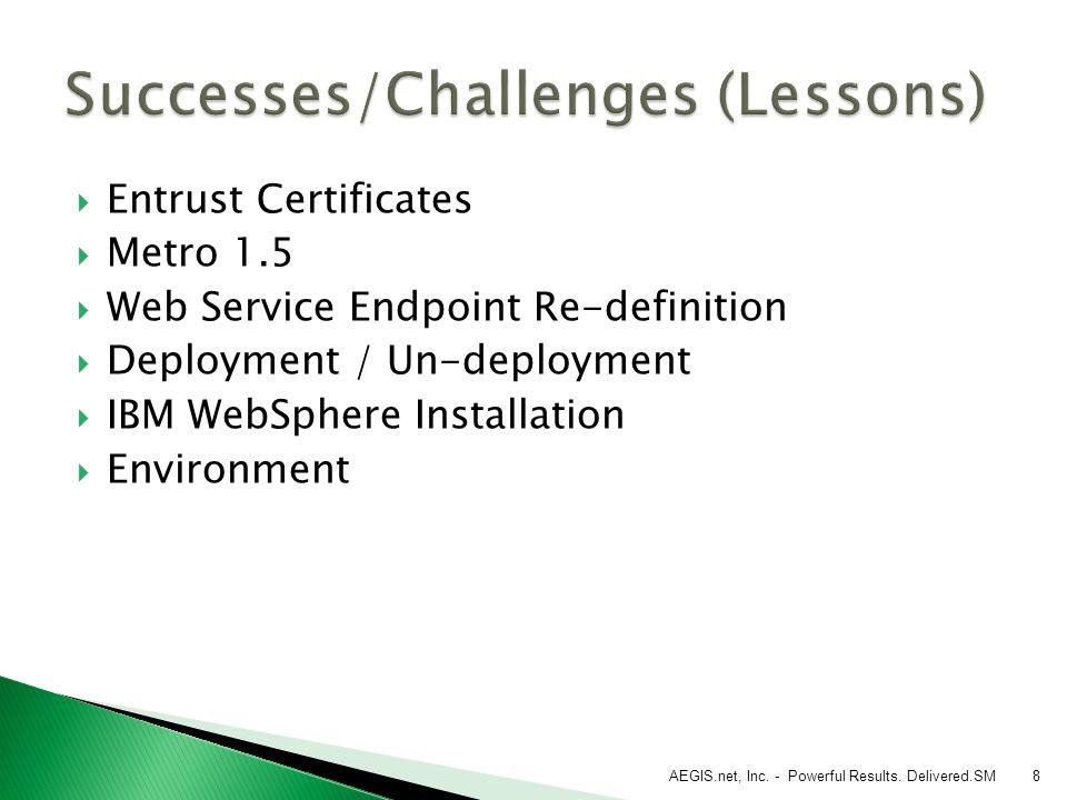8  Entrust Certificates  Metro 1.5  Web Service Endpoint Re-definition  Deployment / Un-deployment  IBM WebSphere Installation  Environment