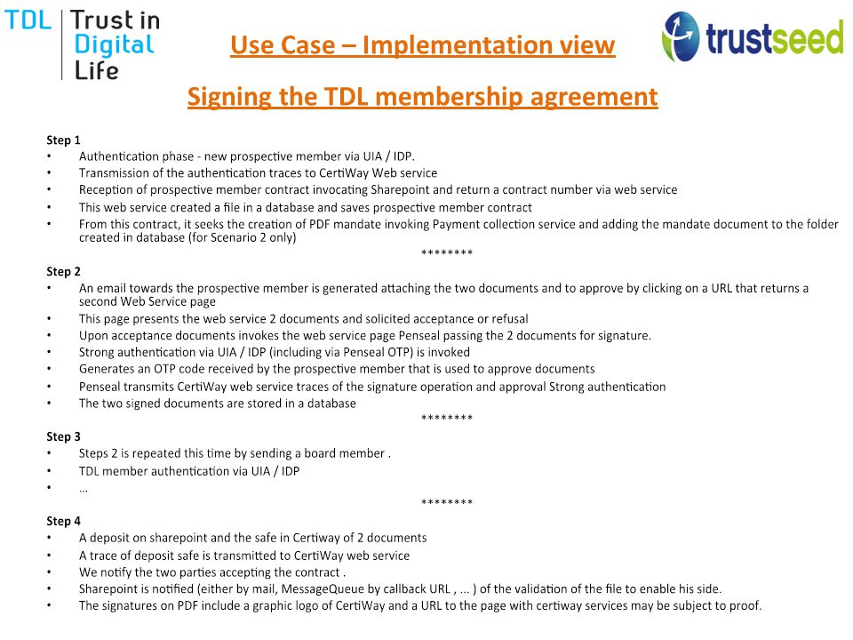 Use Case – Implementation view Signing the TDL membership agreement