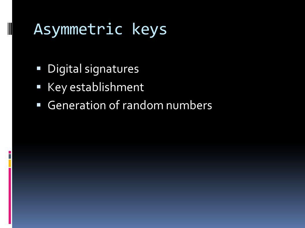 Asymmetric keys  Digital signatures  Key establishment  Generation of random numbers